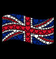 waving great britain flag mosaic of hearts suit vector image