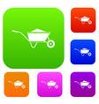 wheelbarrow with sand set collection vector image vector image