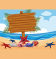 wooden sign on the beach vector image