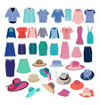 different fashion cloth and accessories collection vector image
