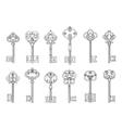 Vintage keys line icons vector image
