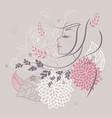 women profile flowers back vector image