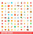 100 fire icons set cartoon style vector image vector image