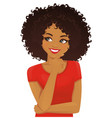 african woman thinking vector image