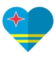 Aruba flat heart flag vector image vector image
