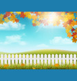 autumn rural landscape with fence vector image vector image