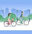 bike couple vector image vector image