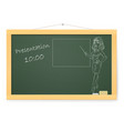blackboard with business woman and organizing vector image vector image