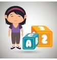 cartoon girl cube alphabet vector image