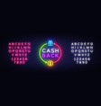 cash back neon logo cash back neon sign vector image vector image