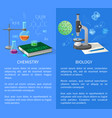 chemistry and biology banners with flasks vector image vector image