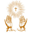 christian symbol cross with bright rays hands vector image vector image