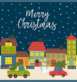 christmas card with town in winter time vector image vector image