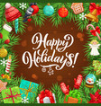 christmas tree xmas gifts bell and sock frame vector image vector image