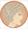 Circle with blonde girl inside vector image vector image