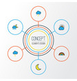 climate colorful outline icons set collection of vector image vector image