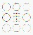 colorful rainbow circle emblems pattern set vector image vector image