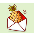 colorful yellow pineapple in white envelo vector image vector image