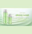 cosmetics bottles mock up banner natural product vector image