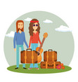 couple hippies playing guitar lifestyle characters vector image vector image