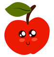 cute little apple on white background vector image vector image