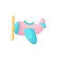 cute pink-blue airplane on white background