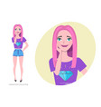 cute shy girl teenager in fashionable clothes vector image