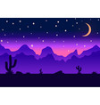 Desert parallax background night vector image vector image