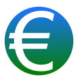 euro sign white icon in bluish circle on vector image vector image