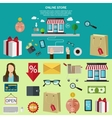 Flat color banner Concept for online store vector image vector image