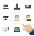flat notebook set of pc computing technology and vector image vector image