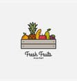 fruits basket with organic fresh fruits on white vector image
