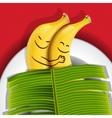 Funny sleeping bananas on a plate vector image