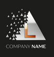 golden letter l logo in silver pixel triangle vector image vector image