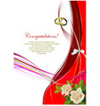 greeting wedding card with roses bunch vector image