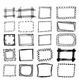 Hand drawn rectangle frames set vector image vector image