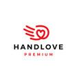 hand love heart care help logo icon vector image vector image