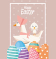 happy easter card with ducks family and eggs vector image vector image
