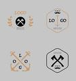 Hipster logotype with axe mustache anchor vector image