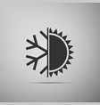 hot and cold symbol sun and snowflake icon vector image vector image
