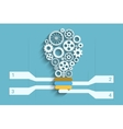 Light bulb paper cut with gears and copyspace 3d vector image