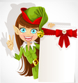 Lovely girl the Christmas elf with a banner vector image vector image