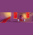 medieval castle interior with wooden arched door vector image vector image