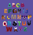 monster cartoon alphabet vector image vector image
