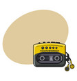 old fashioned black and yellow audio player vector image
