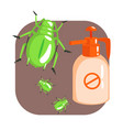 orange sprayer bottle of green longhorn beetle vector image