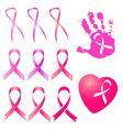 pink ribbon in different versions vector image