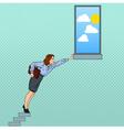 Pop Art Businesswoman Hard Trying to Reach Goal vector image
