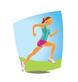 running woman in sport wear detailed vector image