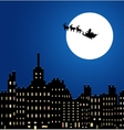 Santa Claus in a sleigh under night city vector image vector image
